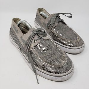 Kids Sperry grey sequin slipon boat shoes 4
